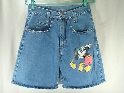 Womens Vintage Blue Denim Mickey Mouse Golf Jean Shorts Disney High Waisted S M