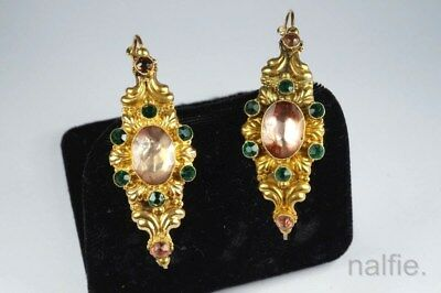 ANTIQUE FRENCH 18K GOLD PINK FOILED CRYSTAL & PASTE POISSARDE EARRINGS c1820