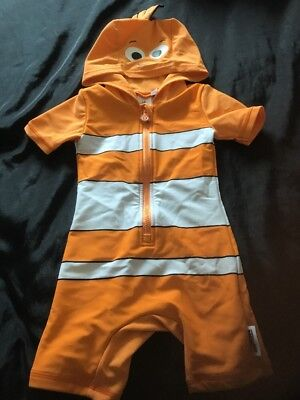 Disney Baby Finding Nemo Zip Up All In One Hooded Swim Wear Age 6-9 Months