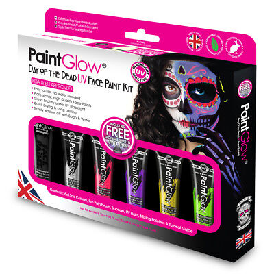 Paint Glow UV Day of the Dead Face & Body Paint Boxset