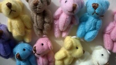 Teddy Bears x 10 tiny pastel assort SLIGHT SECONDS - CRAFTS  MINIATURES (F6006)