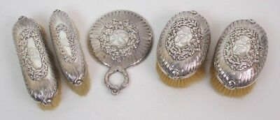 5 Pieces Tiffany & Co Sterling Silver Dresser Vanity Mirror Brushes
