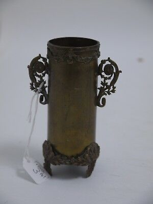 TRENCH ART- WW1 Karlsrhue Cartridge Case made into small brass Vase (SL3)