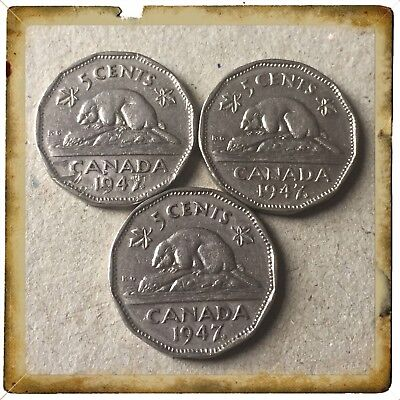 Lot Of 3 1947 Maple Leaf Canada five cents Canadian nickel Coins #605