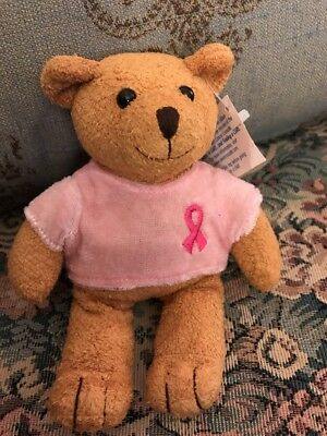"NEW Avon BREAST CANCER CRUSADE BEAR PLUSH Pink Ribbon Shirt 6 1/2"" NWT"