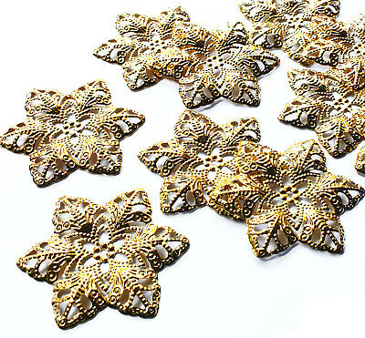 10 Gold tone Flower Filigree Stamped Embellishment Metal Charm Decoration Xmas
