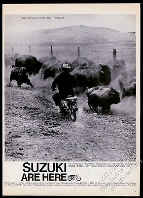 1965 Bison herd photo Custer State Park Suzuki motorcycle vintage print ad