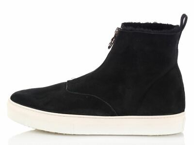 New CELINE Black Zip Shearling Ankle Boots 42 12 NIB ~ Warm suede!