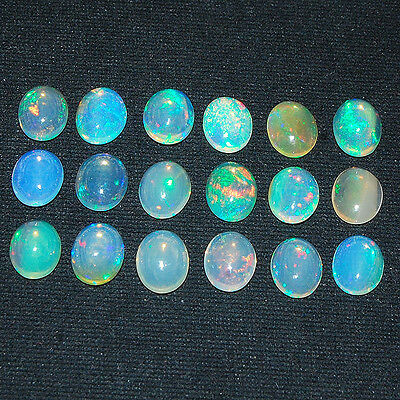 18 Pcs ~10mm/8mm~ Certified ~ Natural Ethiopian Opal Flashy & Vibrant Color Play