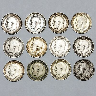 1911 To 1922 King George V Great Britain Silver Threepence 3D Coins