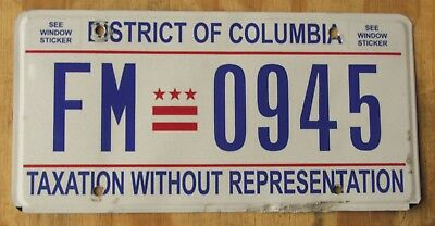 WASHINGTON DC - DISTRICT of COLUMBIA license plate   2013  FM 0945
