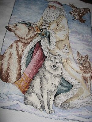 Father Christmas Completed Cross Stitch Embroidery Wall Art Cushion Bag Gift++