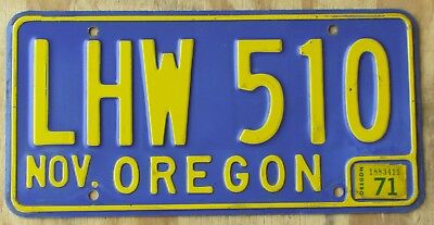 1971 OREGON YELLOW on BLUE license plate  1971  LHW 510