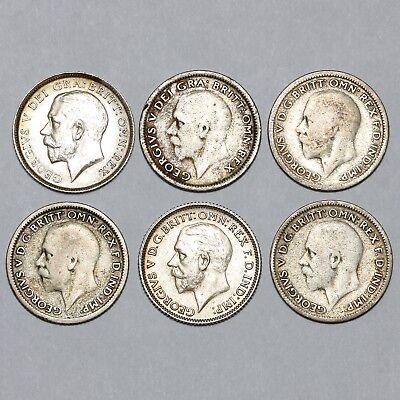 Various Dates King George V Great Britain Silver Sixpence Six Pence 6D Coins