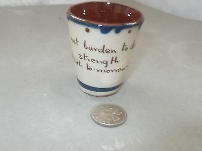 A Small Model Of A  Beaker With Motto On Back  In Devon Ware   No Maker