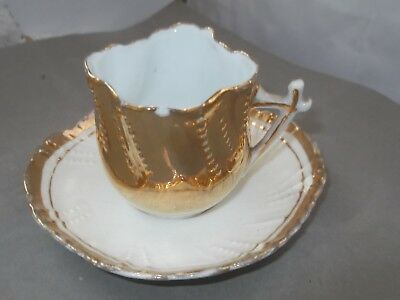 ?vintage Shaped Miniature Cup And Saucer In White And Gold  No Maker