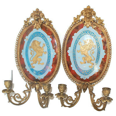 Beautiful antique pair french sconces porcelain Gold bronze mount 16 inches tall
