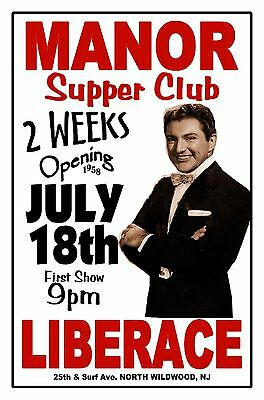 LIBERACE 1958 MANOR SUPPER CLUB North Wildwood NJ Artist Rendition Poster THouse