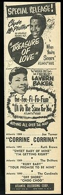 1956 Lavern Baker Clyde McPhatter photo Atlantic Records trade print ad
