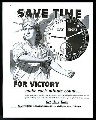 1943 Statue Of Liberty rolling up sleeves work hard for victory Acme print ad