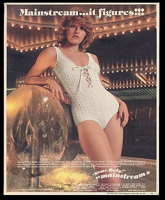1977 Mainstream Some Body swimsuit pretty woman photo print ad