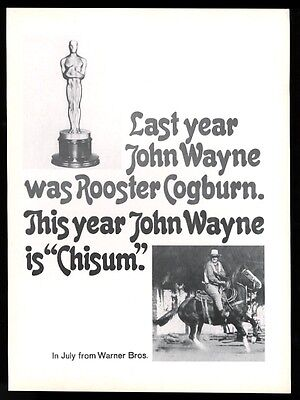 1972 John Wayne photo Chisum movie release trade ad