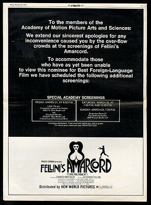 1975 Federico Fellini Amarcord movie release vintage trade print ad