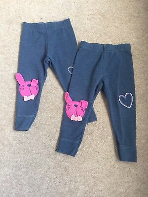 2 X Girls Next Rabbit Detailed Leggings Age 18 - 24  Months  *twins*
