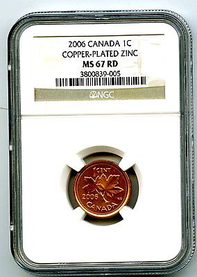 2006 Canada Cent Without Rcm Logo Ngc Ms67 Rd Copper Plated Zinc Top Pop !!