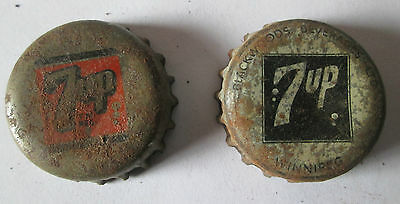 2 Canada Old 7-Up Soda Cap Cork Lined  1 Marked Backwoods Beverages Winnipeg