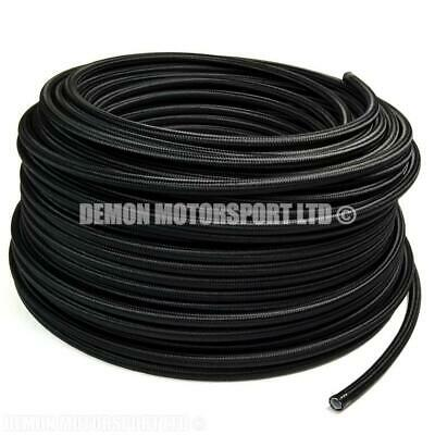 1m Teflon Lined Black Nylon Braided Hose, Fuel Oil (PICK SIZE) Demon Motorsport
