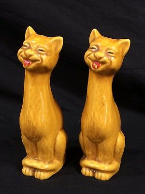Vintage Cats Salt And Pepper Shakers Yellow