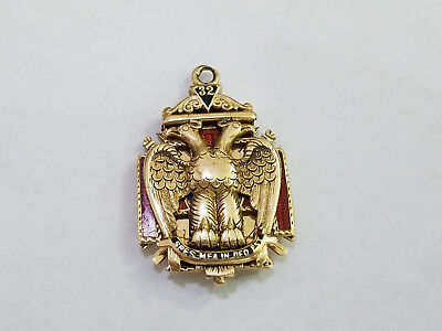 14k Gold  Knights Templar Watch Fob Masonic - 7445