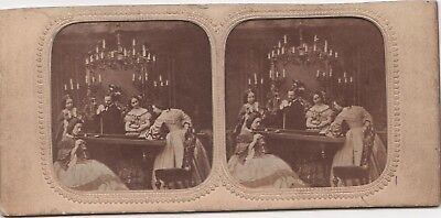 Stereoview Tissue Colour Tint Early Image Of Ladies Playing Bagatelle Billiards