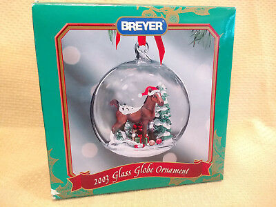 Breyer Pony Horse Holiday Christmas Glass Globe Ornament Mint in Box 2003