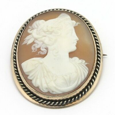 "Antique Victorian 10K Solid Gold Carved Shell Cameo Brooch Pin 1.5"" x 1.25"" 9.1g"