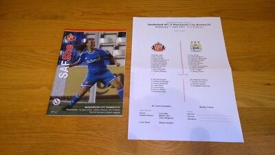 2014-15 Sunderland Ladies v Manchester City Women + Teamsheet