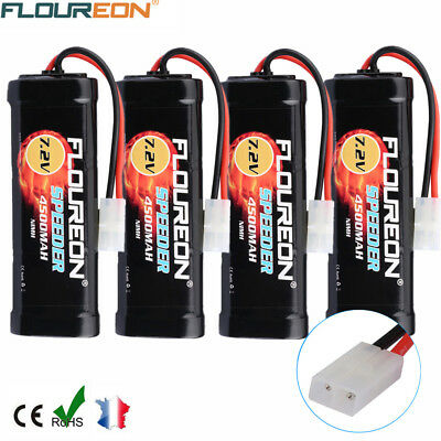 4X 7.2V 4500mAh NiMH Batterie Battery Flat Pack Female-tamiya Plug pr RC voiture