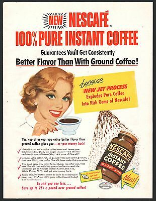 1953 NESCAFE Instant Coffee AD w/Happy Homemaker Housewife~Vintage Kitchen Decor
