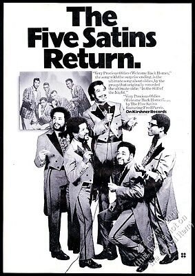 1973 The Five Satins photo Very Precious Oldies record release trade print ad