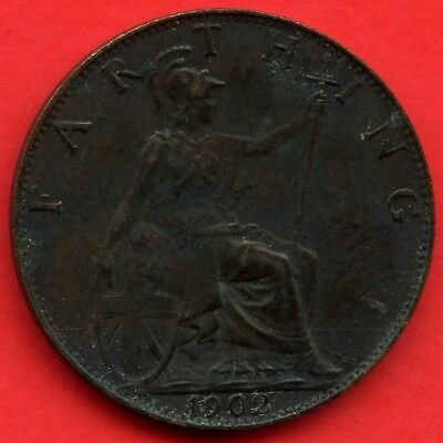 1902 Great Britain 1 Farthing Coin