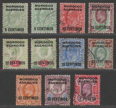 Morocco Agencies Spanish 1907 KEVII Surcharge Set to 1p Used SG112-120