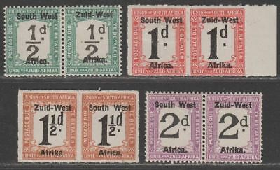 South West Africa 1923 KGV Postage Due Overprint Selection to 2d Mint