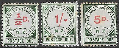 NEW ZEALAND 1899 1/2d, 1s & 5d P.Dues, mint hinged, some toning. SF D1, D3 & D6.