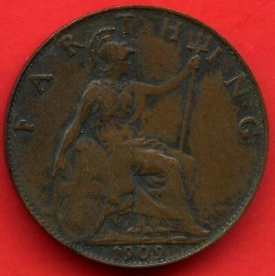 1909 Great Britain 1 Farthing Coin