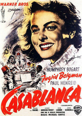 Casablanca (1942) movie poster german reproduction single-sided rolled
