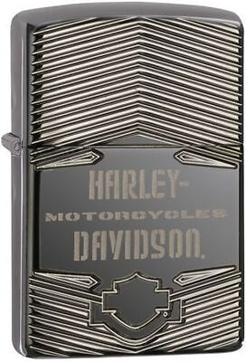 Zippo 29165, Harley Davidson-Logo, Black Ice Chrome Lighter, Armor