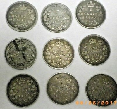 Lot of 9 OLD Canada Silver 5 Cents **SILVER COINS** 1872 H to 1914