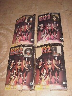 4 Kiss Mego Original Figures Gene Ace Paul Peter With Boxes 1977 Mib
