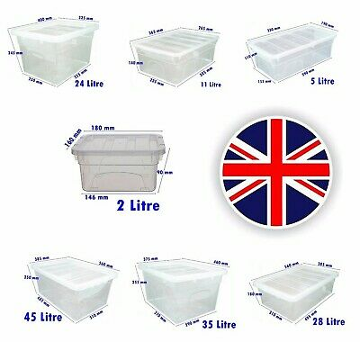 UK MADE Clear Plastic Storage Boxes With Lids Stackable Container Home Office